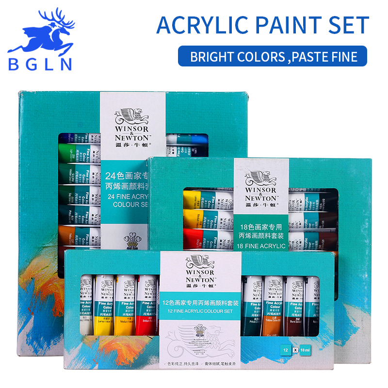Winsor&Newton  12/18/24 Colors Acrylic Paints Set  Hand Painted Wall Drawing Painting Pigment Set Art Supplies michael newton hinge saatus