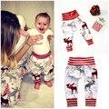 Bonito Cervos Do Bebê Impresso Calças Compridas Harem Pants Calça Casual Para 0-2A Bebê Das Meninas Dos Meninos de Natal PP Leggings