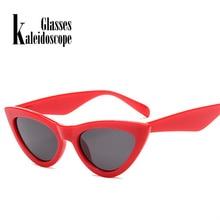 4a558724339c2 Caleidoscópio Óculos 2018 New Bonito Sexy Retro Cat Eye Sunglasses Mulheres  Preto Triângulo Branco óculos de Sol Do Vintage Femi.