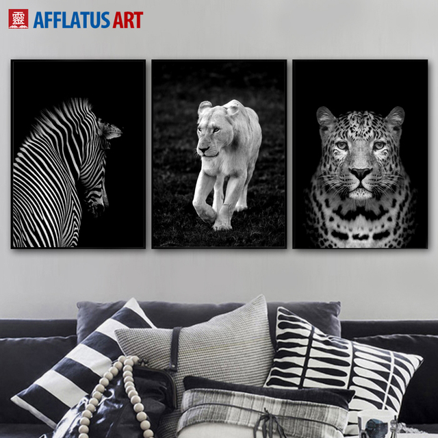 Black White Lion Leopard Zebra Wall Art Canvas Painting Nordic Posters And Prints Animals Pictures For Living Room Decor