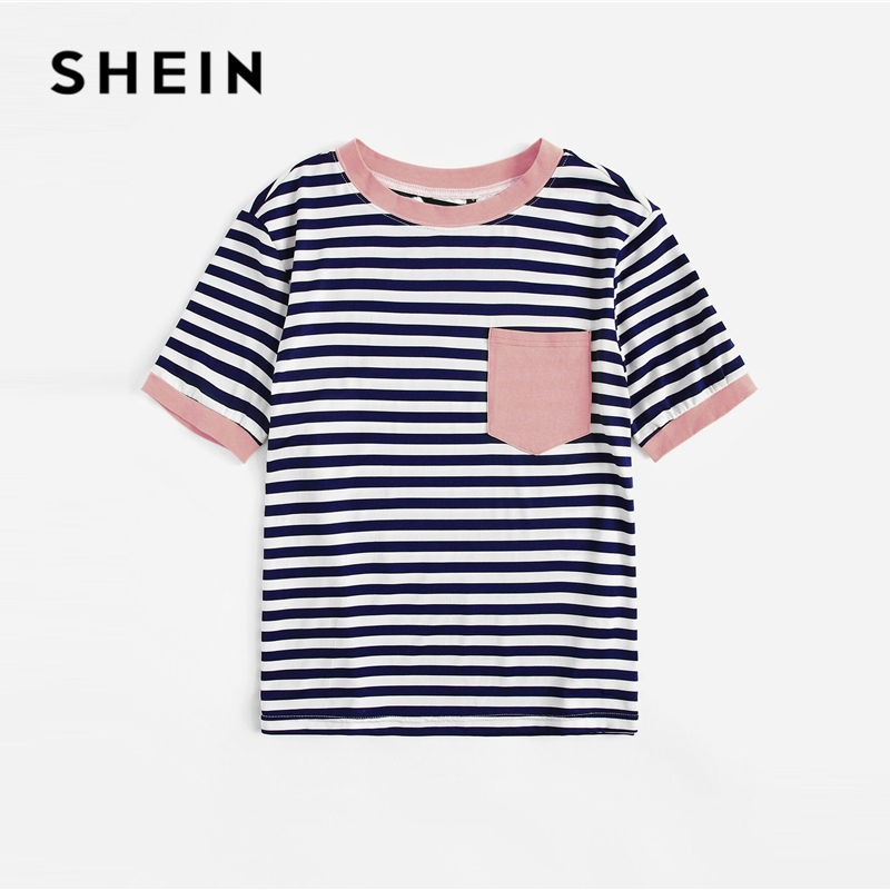 SHEIN Plus Size Patch Pocket Striped Ringer Top Tee Women Summer Preppy Round Neck Striped Contrast Binding Stretchy T-shirt 2