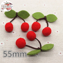 5CM patches pompon Cherry Felt Appliques for clothes Sewing Supplies  craft ornament
