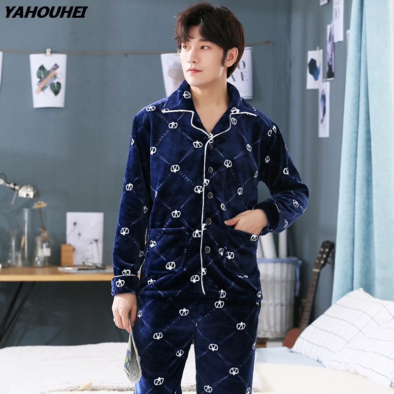 Plus Size 5XL Thick Warm Flannel Pajamas Sets For Men 2019 Winter Long Sleeve Print Coral Velvet Pyjama Lounge Homewear Clothing