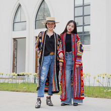Free Shipping 2018 New Fashion 100% wool Coat For Women Plus Size Loose Outerwear Long Sleeve Maxi Hand Made National Sweaters