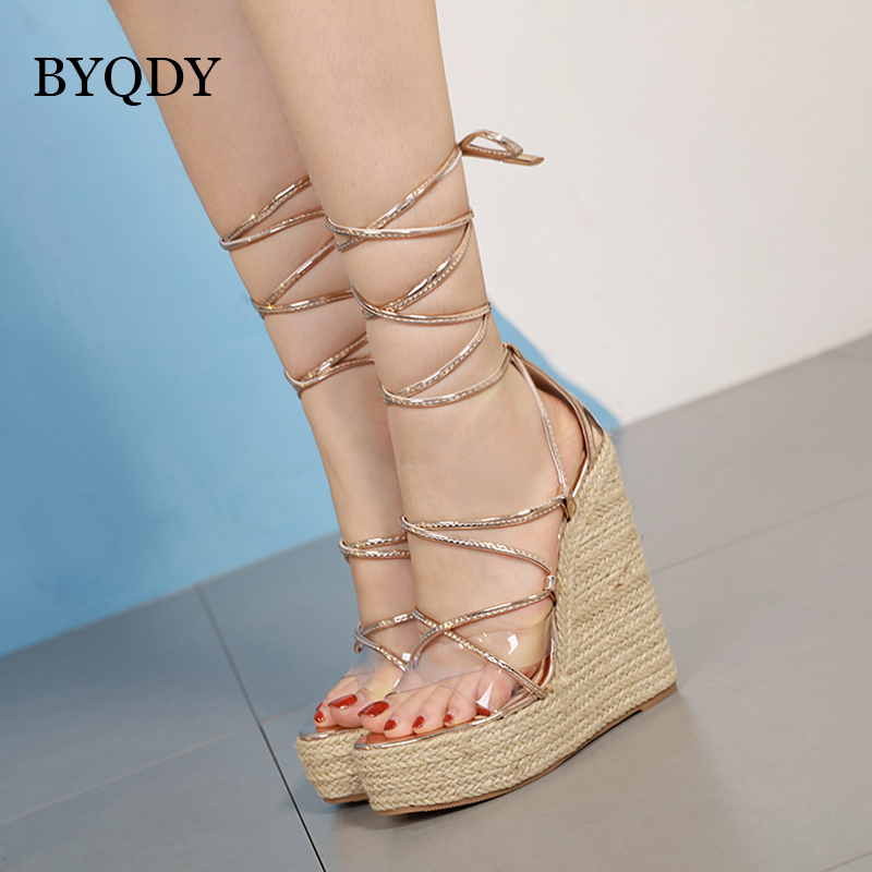 BYQDY Transparent Sandals Russian-Shoes Wedges High-Heels Women Casual Solid Lace-Up