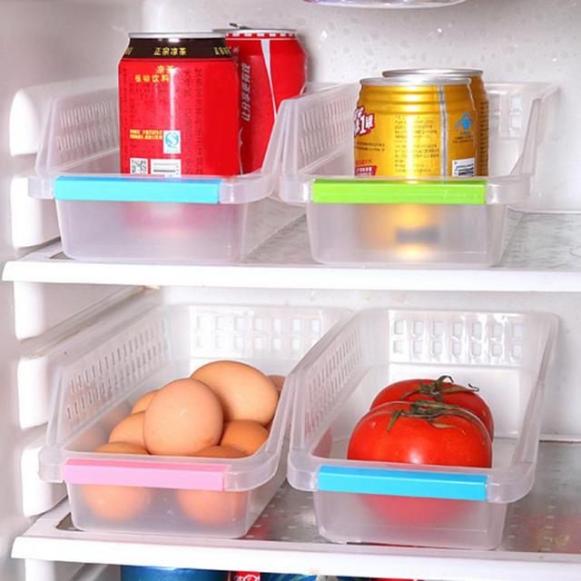 1 Pcs Plastic Hollowed Out Drawer Refrigerator Storage Box For Drinks Eggs  Useful Fridge Container