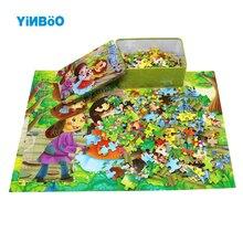 Деревянная игрушка-головоломка животных мультфильм анимации жестяной коробке деревянные 200 шт. puzzle игрушки для детей, развивающие игрушки