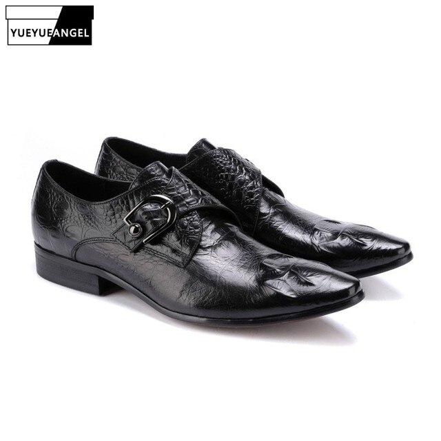 f72473714 2019 Nova Moda Fivela Mens Sapatos Formais Vestido Sapatos Masculinos  Escorregar No Dedo Apontado Venda Quente