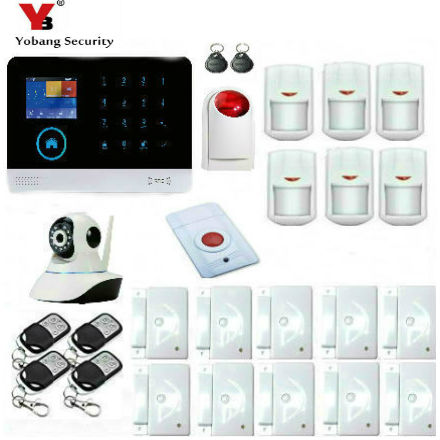 Yobang Security Android IOS App Control Network Camera WCDMA/CDMA 3G WIFI Alarm With RFID Tags Strobe Siren Panic Alarm Kits