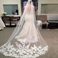High Quality Wedding Veils Cathedral Length 2.6 Meters Appliques Edge Wedding Accessories Bridal Veils veu de noiva long