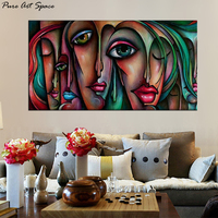 4 Designs Sexy Girl Big Eyes Abstract Face Paintings For Living Room Wall Handpainted Oil Painting on Canvas Abstract Modern Art
