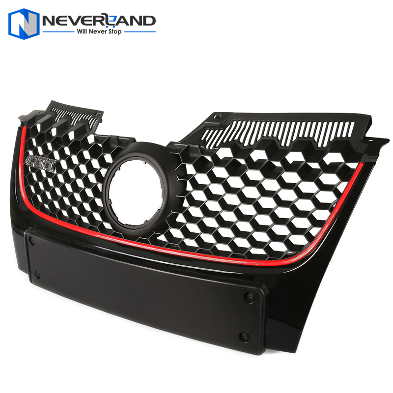 Car Red Strip Front Bumper Grille Grill with Red Border For VW Golf Jetta GTI MK5 2006 2007 2008 2009 Black D10 vr racing front control arm bushing kit for vw beetle 98 06 golf 85 06 jetta 85 06 polyurethane black red vr cab01