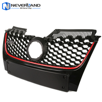 Car Red Strip Front Bumper Grille Grill with Red Border For VW Golf Jetta GTI MK5 2006 2007 2008 2009 Black D10