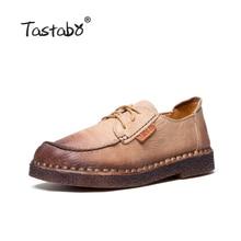 Tastabo осень мокасины для Для женщин Пояса из натуральной кожи Обувь обувь на плоской подошве Повседневное кружева с круглым носком туфли в ретро-стиле большой Размеры обуви Для женщин