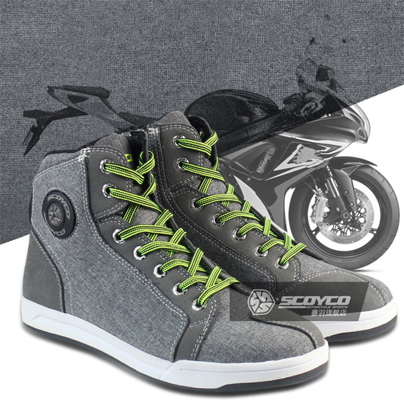 SCOYCO Motorcycle Boots Men Women Grey Casual Fashion Wear Shoes Breathable Anti skid Protection Gear Botas