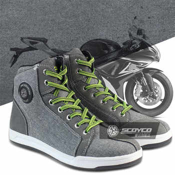 SCOYCO Motorcycle Boots Men Women Grey Casual Fashion Wear Shoes Breathable Anti-skid Protection Gear Botas De Motociclista - DISCOUNT ITEM  10 OFF Automobiles & Motorcycles
