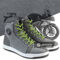 SCOYCO Motorcycle Boots Men Women Grey Casual Fashion Wear Shoes Breathable Anti skid Protection Gear Botas De Motociclista