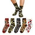 5 par/lote 2017 nuevos hombres calcetines calcetines gruesos de algodón de la manera de camuflaje selva táctica militar para los hombres de invierno summer corto calcetín