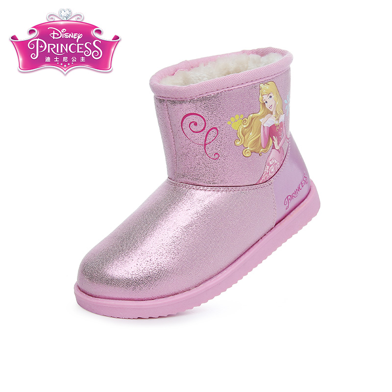 купить Disney Princess Winter Snow Boots Pu Leather Waterproof Boots  Heels Shoe Girl Boots 5 colors Size 26-35 DF0187 недорого