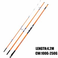 Free Shipping Cindy Surf Rod 4 2m FUJI Top Ring 3 Section Carbon Fiber Surfcasting Fishing