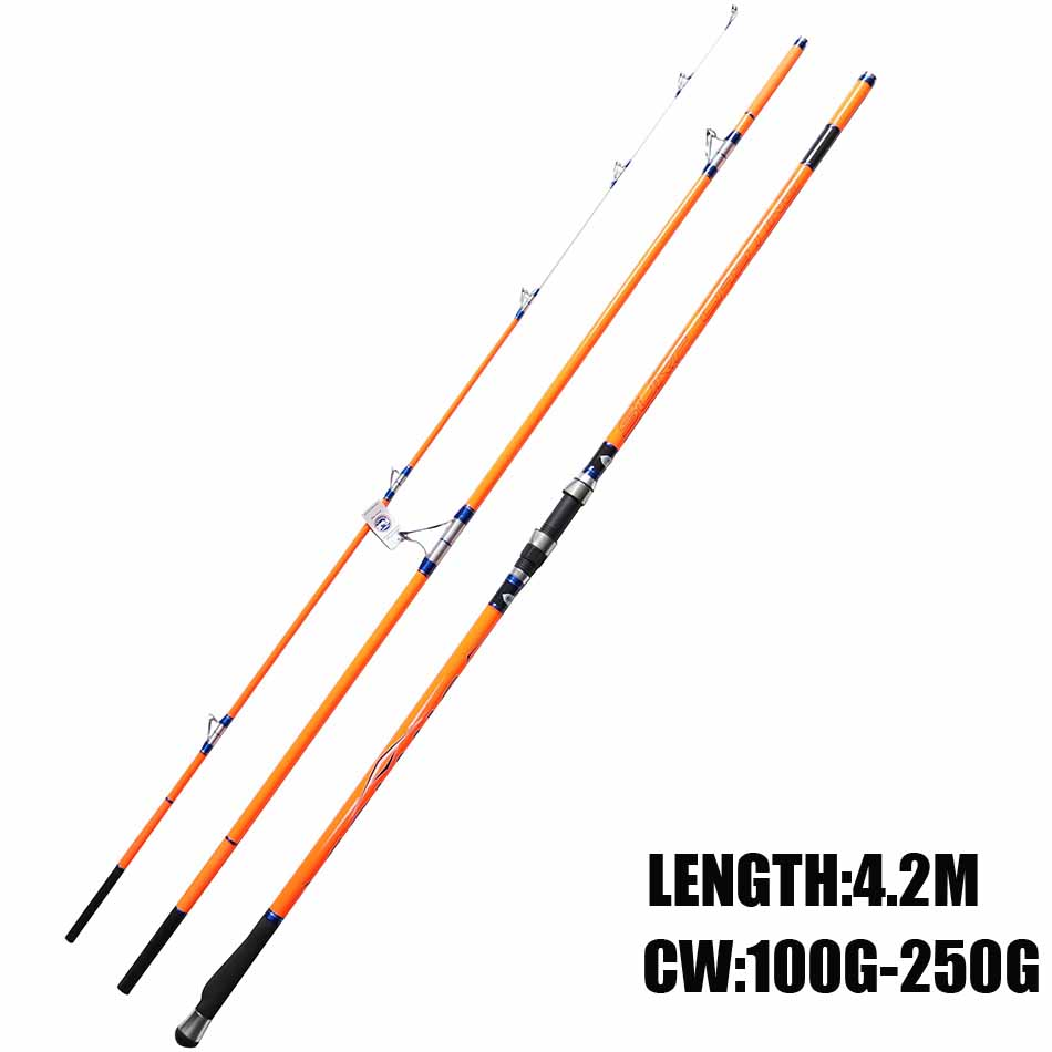Free shipping Cindy Surf Rod 4.2m FUJI Top Ring 3 Section Carbon Fiber Surfcasting Fishing Rod cindy
