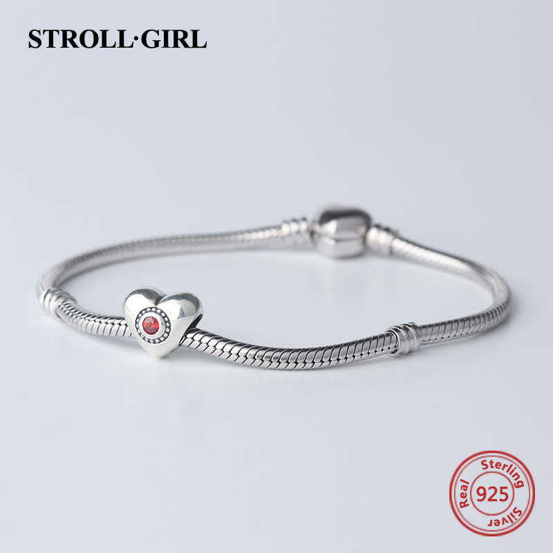 Fit Authentic pandora Charm bracelets Silver 925 Original love Heart Shape Beads with CZ DIY Fashion Jewelry making girl Gifts