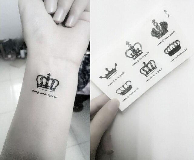 Impermeable Tatuaje Temporal Pegatinas Real Coronas Rey Reina