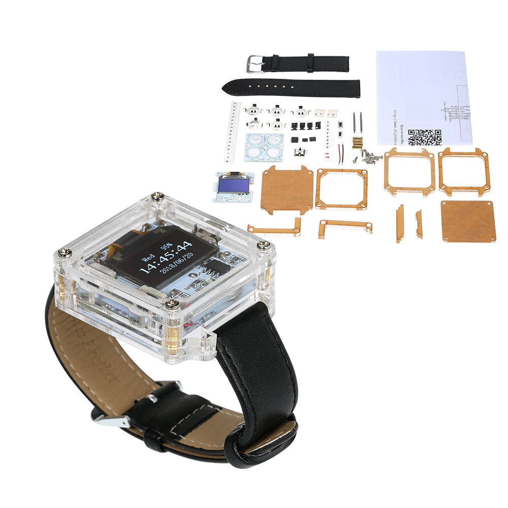 Digital  Watch Electronic Clock Kit Single-Chip Transparent Watch DIY LED Digital Tube Wristwatch DIY Kit Replaceable watchband