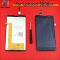 Tela de lcd com tela de toque digitador assembléia para lenovo s898t + ferramentas gratuitas frete grátis
