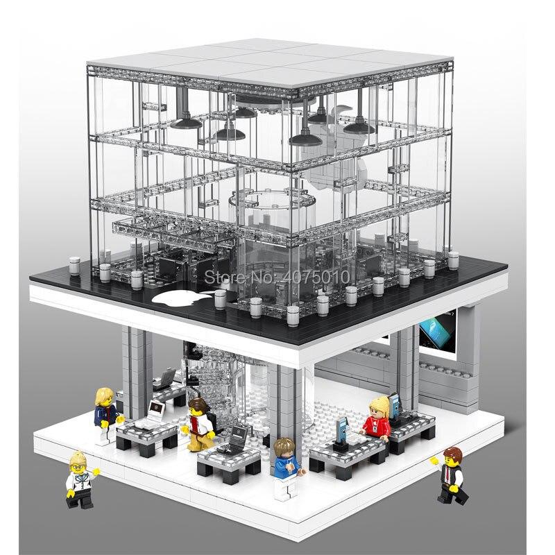 compatible LegoINGlys architecture LED City Street View Technic apple store flagship 1116pcs Building block brick toys gift