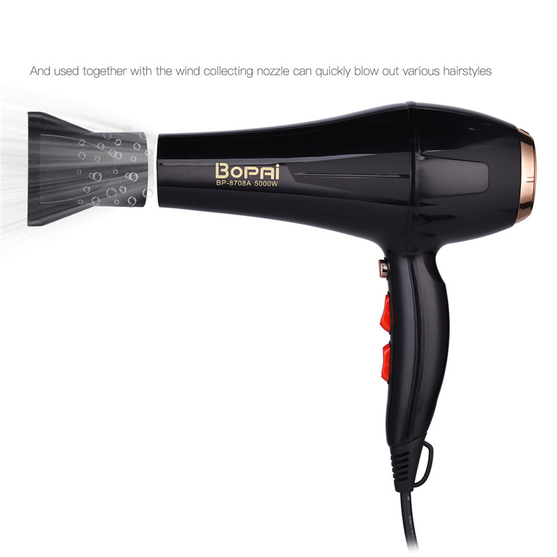 Image 4 - 5000W Professional Hair Dryer With Nozzle Super Power Hair Salon Styling Tools Hair Drier Hot Cold Air Speed Adjust Hair Blower-in Hair Dryers from Home Appliances