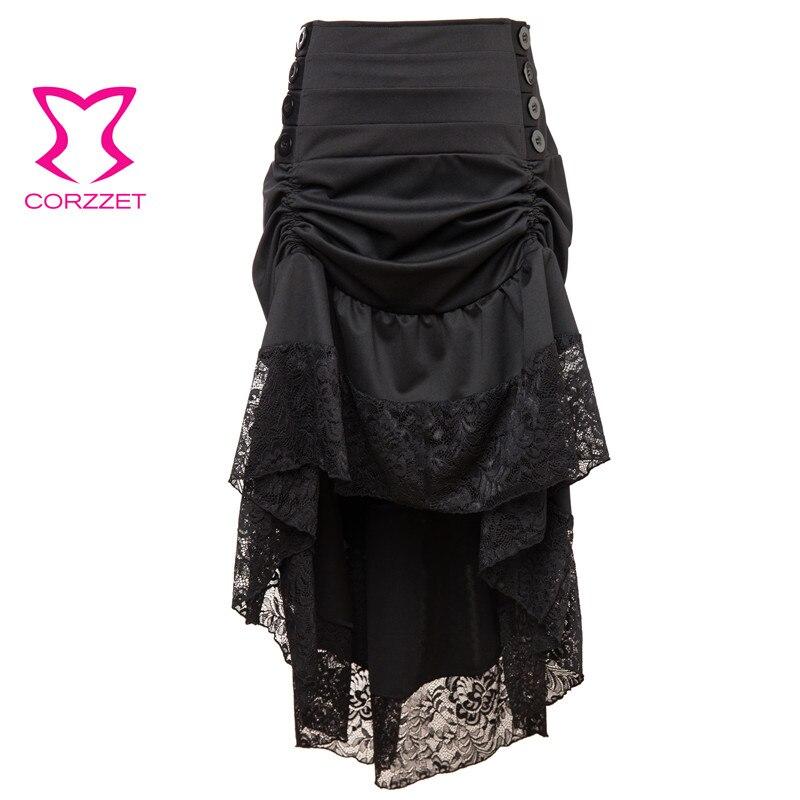 Викторианские черные цветочные кружевные асимметричные юбки с рюшами в стиле панк, готика, женская сексуальная винтажная длинная юбка разм