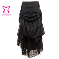Victorian Black Floral Lace Asymmetrical Ruffle Punk Gothic Skirts Womens Plus Size Sexy Vintage Long Skirt Steampunk Clothing