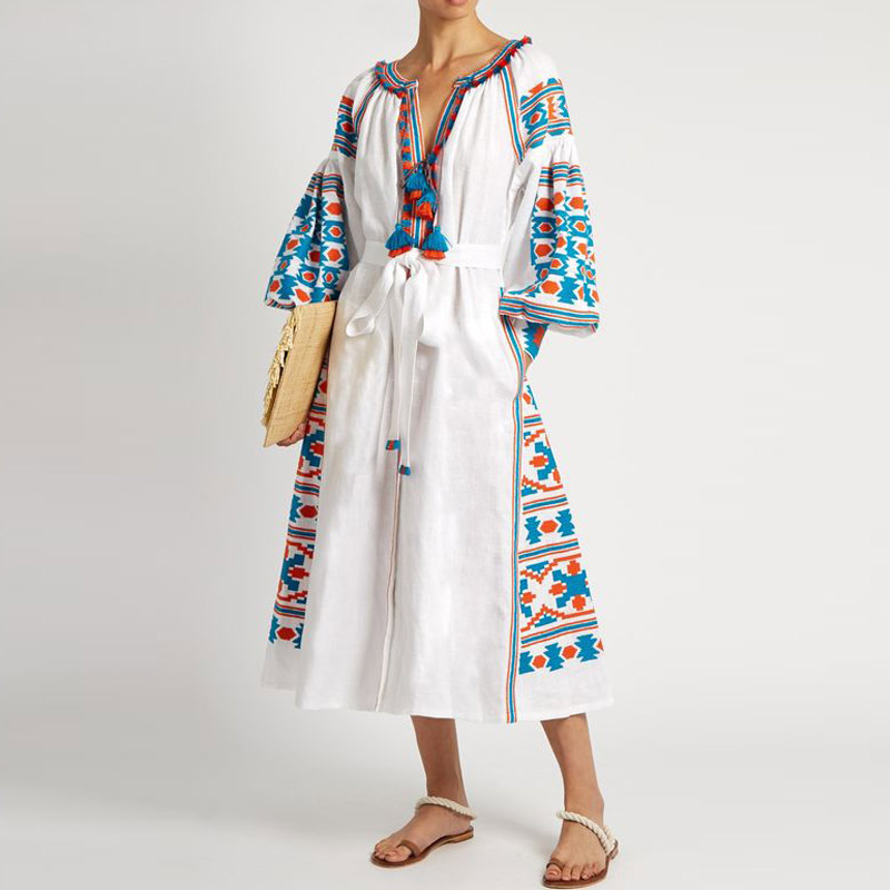 Ukrainian Winter Dress V Neck Ethnic Gypsy Embroidery Vestidos Femme Long Sleeve V Neck Sashe Cotton And Linen Maxi Hippie Dress