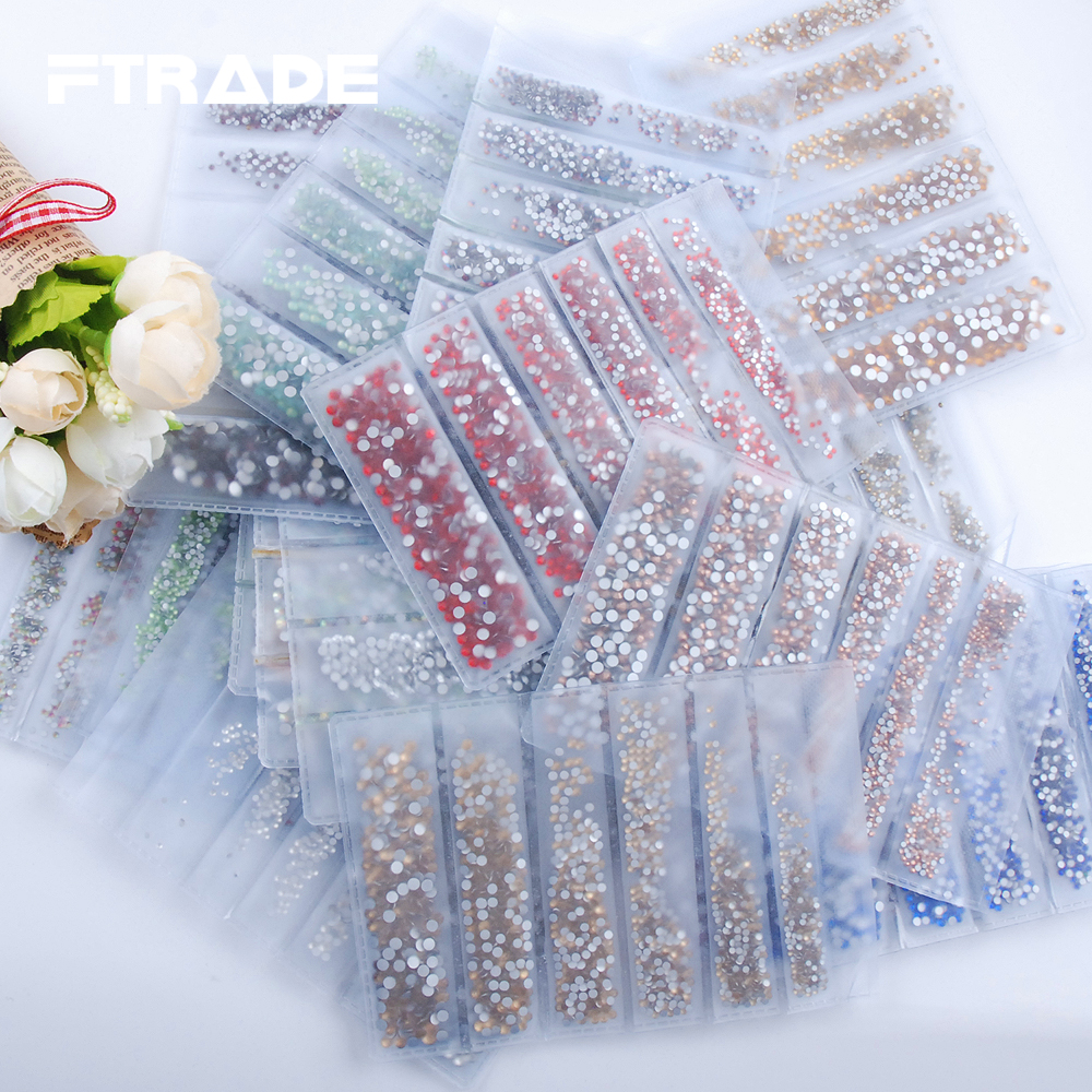 17 Color Glass Crystal 1700Pcs Pack 6 Size 3D Nail Art Rhinestones Flatback Non Hotfix Stones Strass For DIY Nails Decorations in Rhinestones from Home Garden
