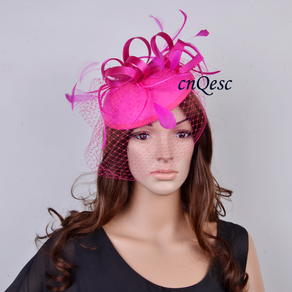 Cerise Fuchsia Hot Pink Fascinator Felt Hat Wedding Race Carnival With Feathers And Veiling In Hair Accessories From Women S Clothing