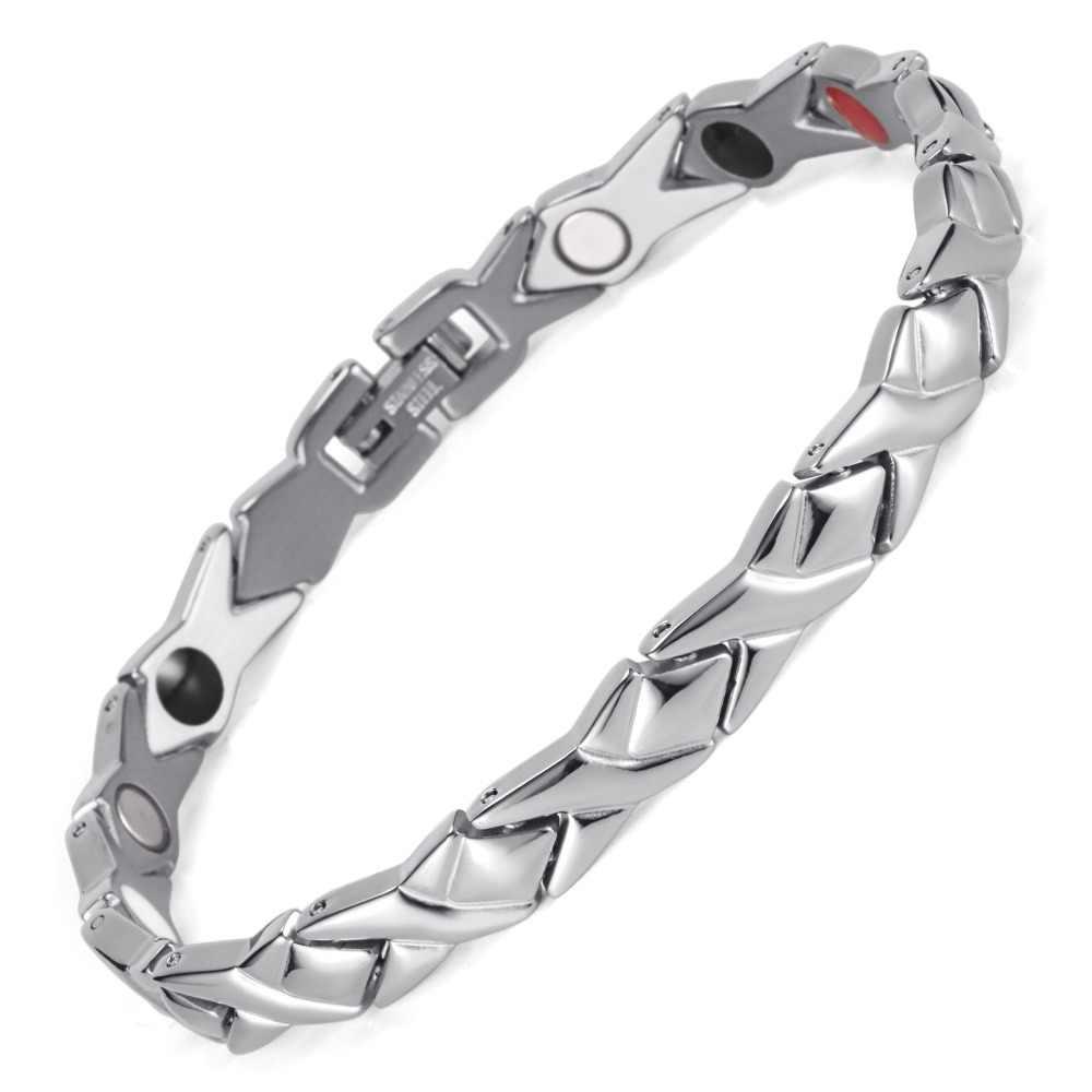 Rainso ステンレス鋼の手紙形状パワーエネルギー健康ブレスレット 4 1 磁気ゲルマニウム健康ブレスレットで女性のための