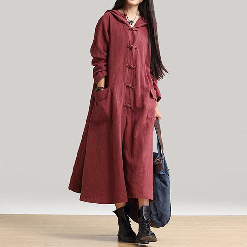 HEGNSONG 2018 New Long Sleeve Cotton Linen Dress Women Spring/Autumn Hooded Loose Irregular Dress 741077