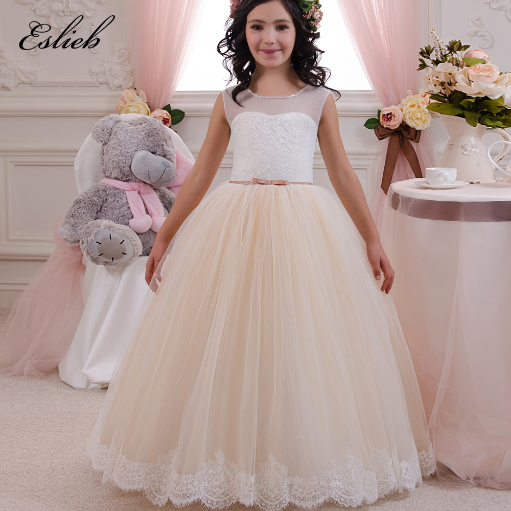 Pageant Dresses for Little Girls Lace Appliques Sleeveless Beading ...