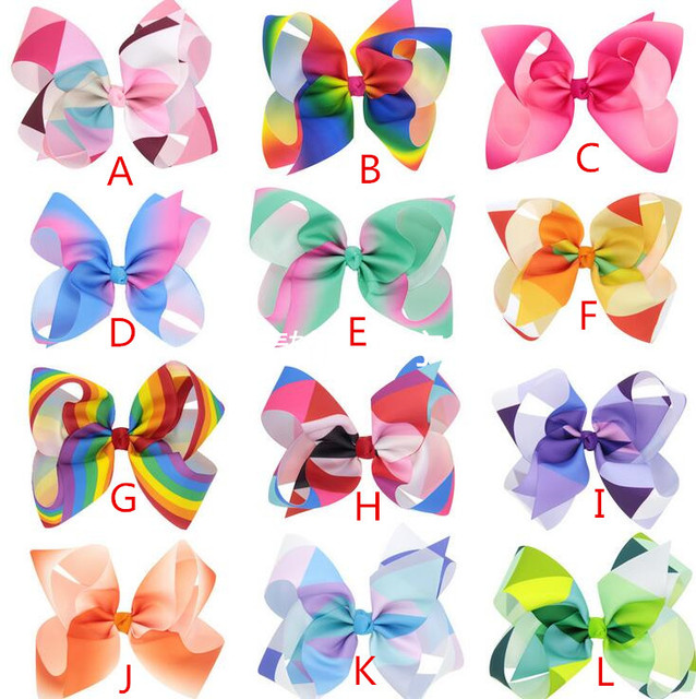 7af15e83873a2 24pcs Free shipping Jojo Siwa Large Rainbow Hair Bow Ponytail Hairstyle  Personalize Hairbow