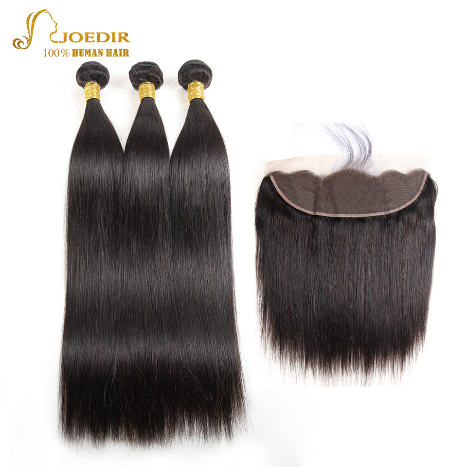 JOEDIR Hair Indian Straight Hair 13x4 Ear To Ear Lace Frontal Closure With Bundles 3 Bundles Pre-Colored Human Hair Extensions ...