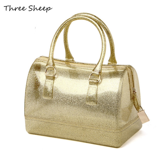 gold hand bags women transparent bags silicone beach bag jelly candy color bag pink women handbags - Sac A Main Color