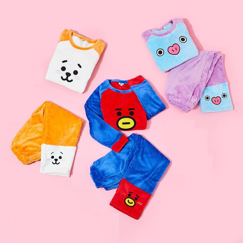 2019 Korean Super Star BTS Kawaii Cartoon BT21 Women   Pajamas     Set   K Pop Bangtan Boys Harajuku Style Fashion Clothes + Trousers