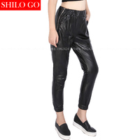 Autumn winter fashion new women high quality sheepskin high waist side zipper halen pencil black leather trousers