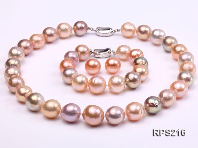 Grande taille 13-14mm multicolore Edison perle collier Bracelet boucles d'oreilles bijoux ensemble parfait femmes cadeau mariage anniversaire bijoux