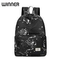 Fashion Women Backpack School Bag Black Stars Sky Pattern Printing Waterproof Large Capacity Bookbag For Girls