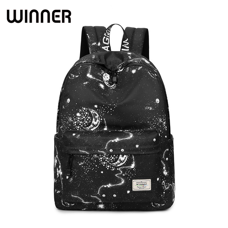 Fashion Women Backpack School Bag Black Stars Sky Space Pattern Printing Waterproof Bagpack Large Capacity Bookbag for Girls fashion 15 6 inch waterproof fabric women backpack pink cute sushi cuisine pattern printing large capacity girls bookbags