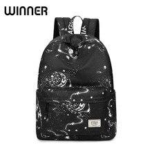 Mode Frauen Rucksack Schultasche Schwarz Sterne Sky Raum Muster Druck Wasserdicht Bagpack Große Kapazität Bookbag für Mädchen