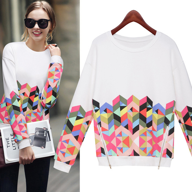 02c408f32 Harajuku Women Autumn Long Sleeve Geometric Pattern T-shirt Woman Tops And  Tees With Double Side Zippers Decoration Tops