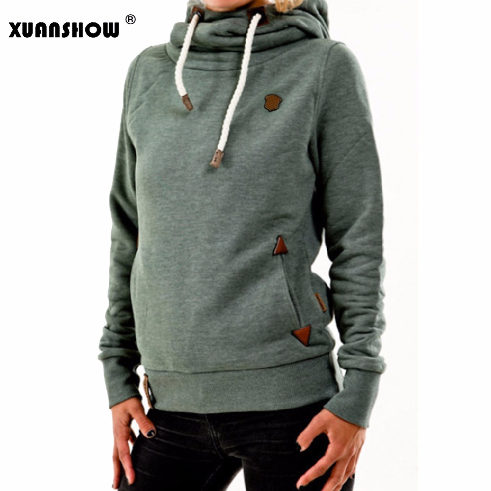 XUANSHOW 2019 Winter Hoodies for Women Cotton Long Sleeve Pocket Thick Keep Warm Fashion Pullovers Ladies Coat Outwear(China)